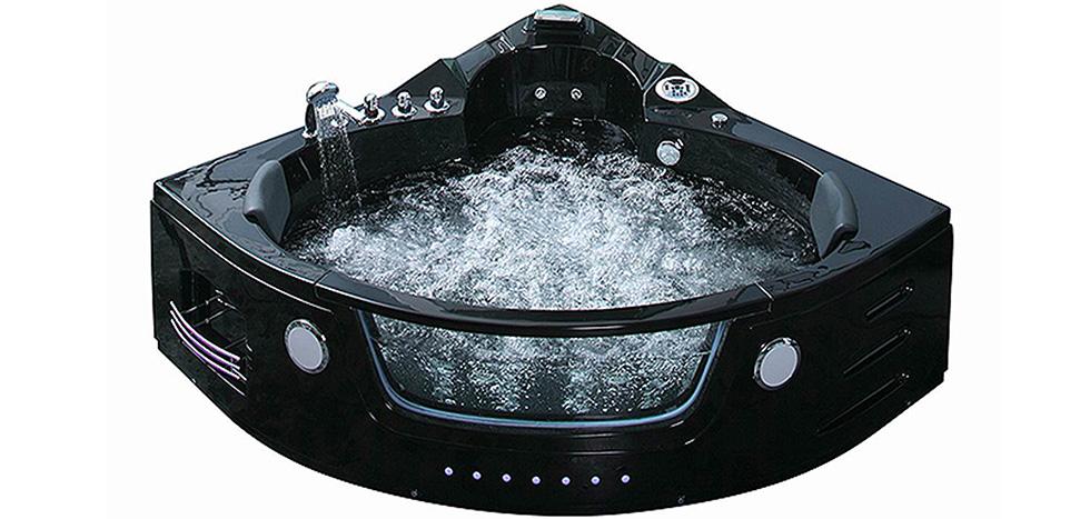 baignoire baln o spa d 39 angle 42 jets maldives noire. Black Bedroom Furniture Sets. Home Design Ideas