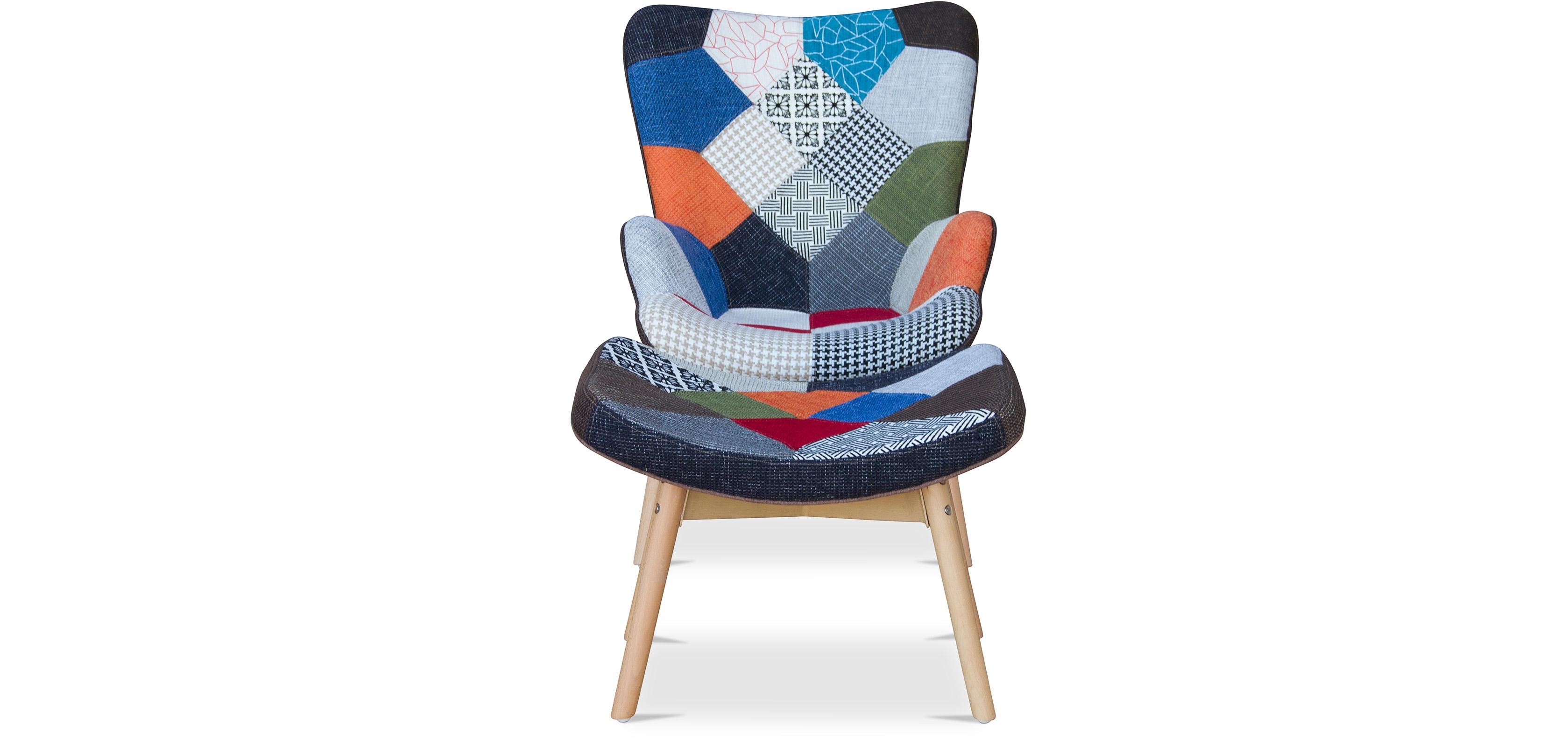 fauteuil avec repose pieds contour patchwork design scandinave grant featherston style - Fauteuil Scandinave Avec Repose Pied