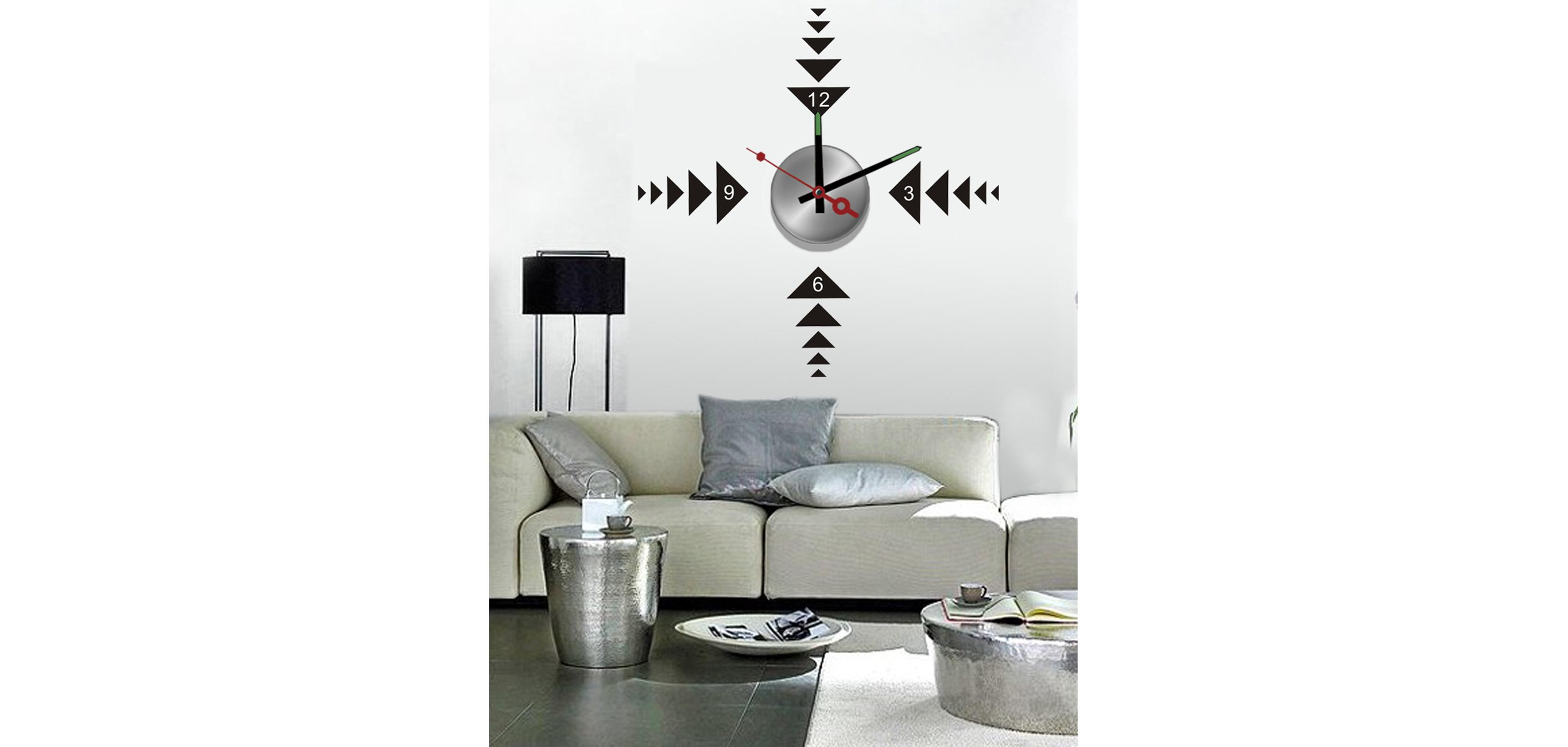 horloge murale sticker design play. Black Bedroom Furniture Sets. Home Design Ideas