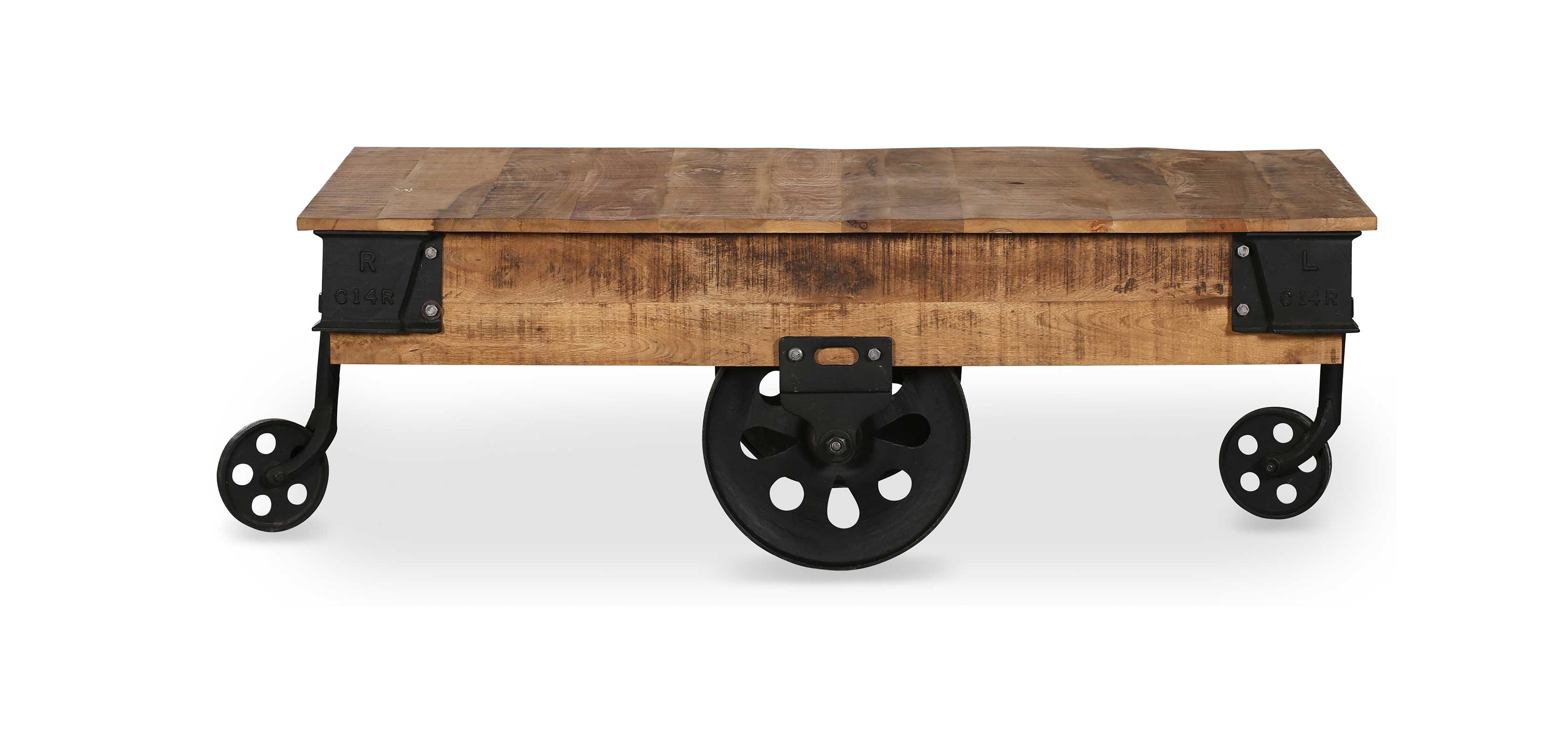 Table Basse Roulante Vintage Industrial Bois