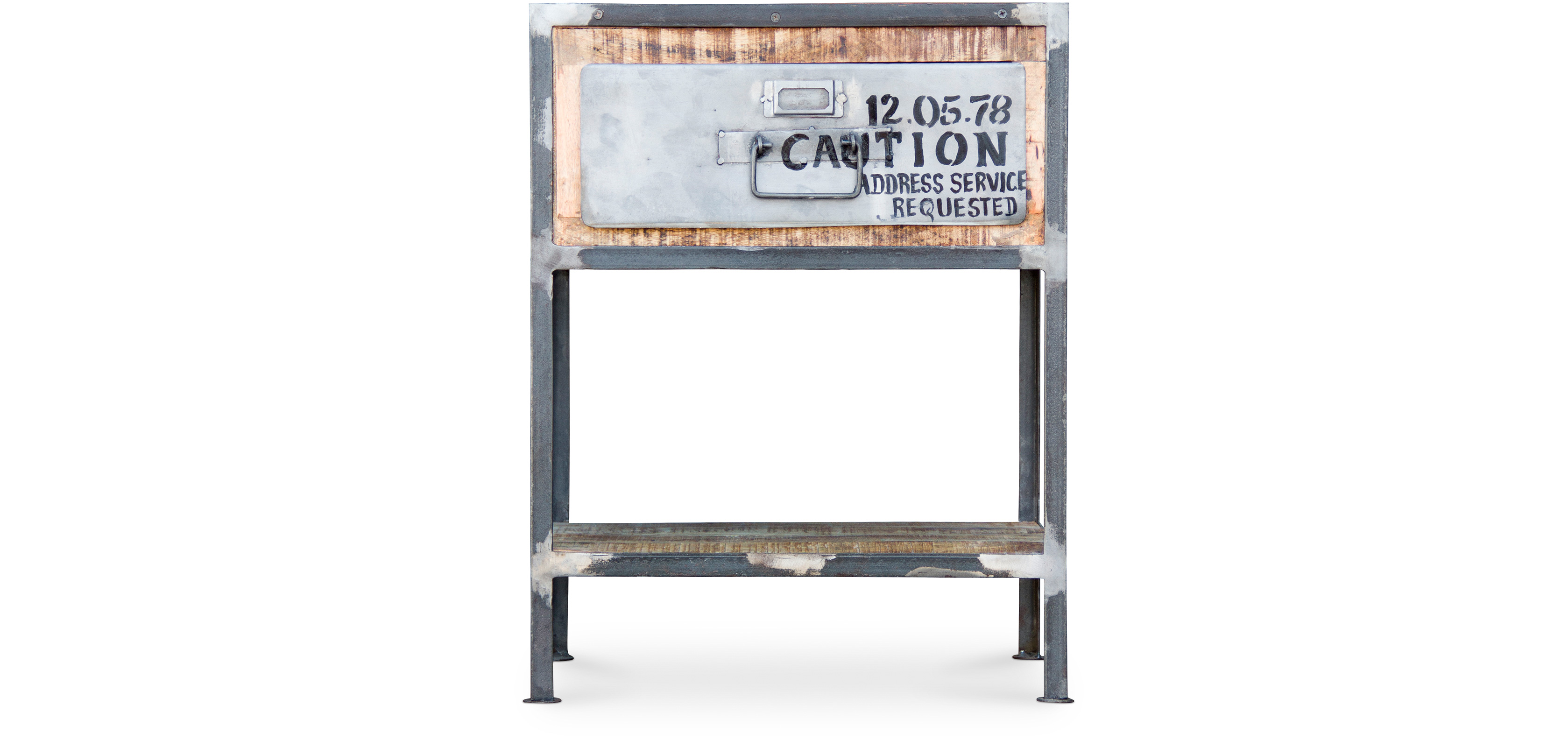 table de chevet vintage industriel acier et bois. Black Bedroom Furniture Sets. Home Design Ideas
