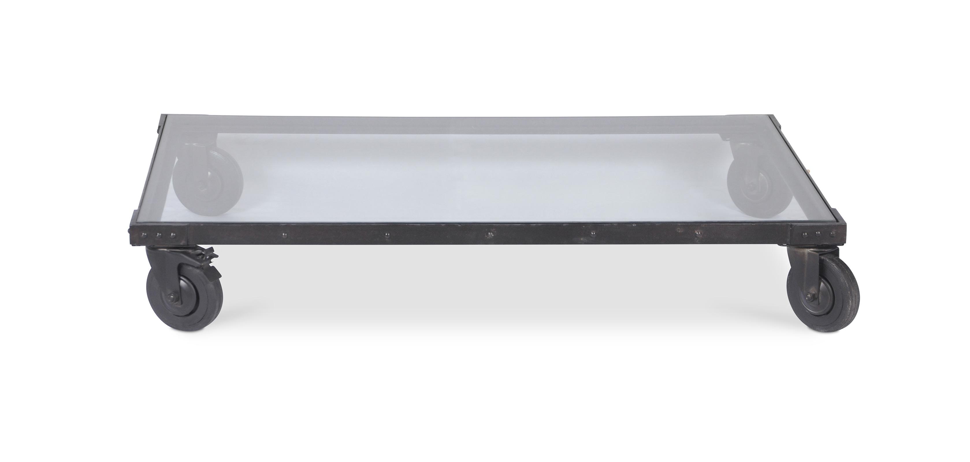 table basse vintage industriel acier et verre. Black Bedroom Furniture Sets. Home Design Ideas