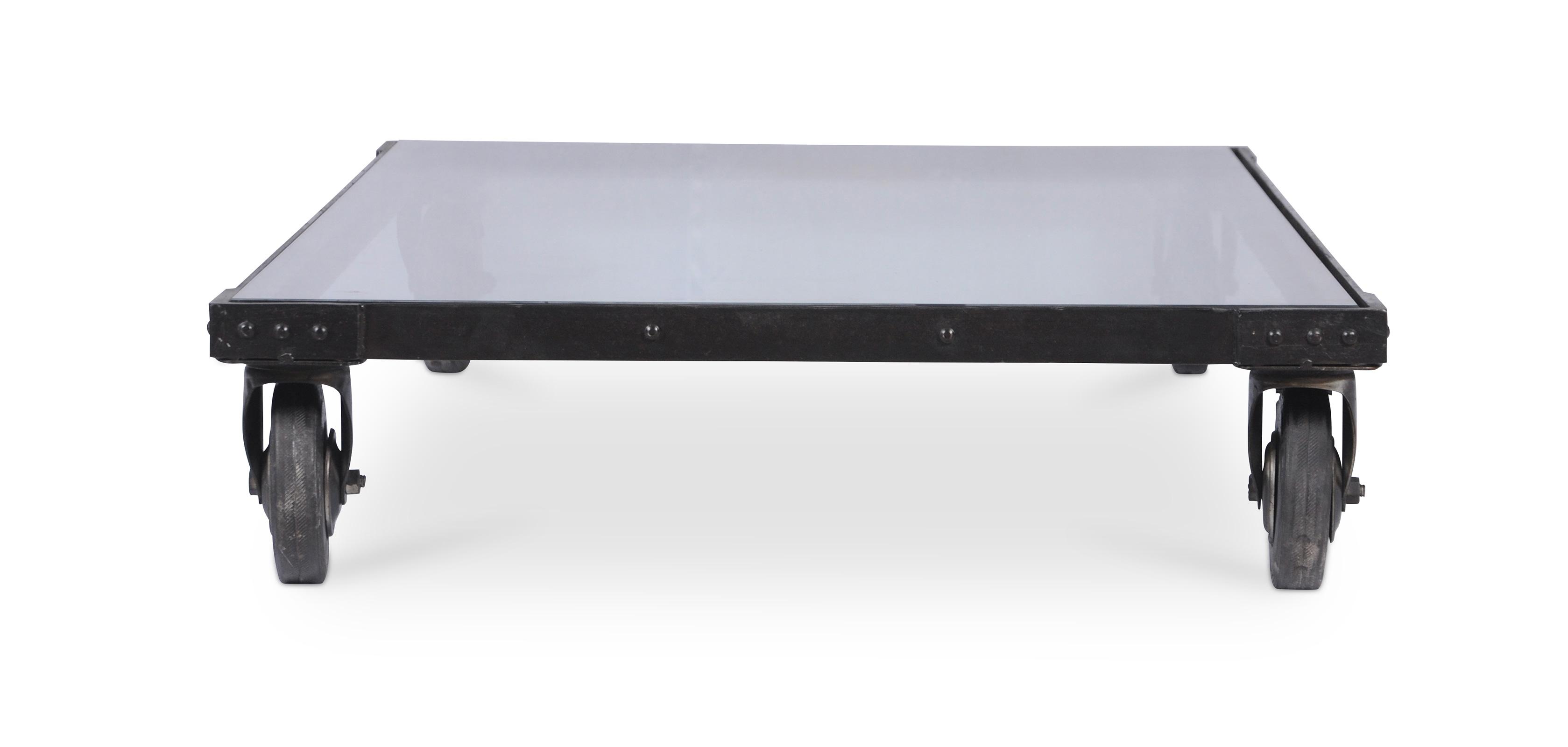 Table basse vintage industriel acier et verre - Table basse ouvrable ...