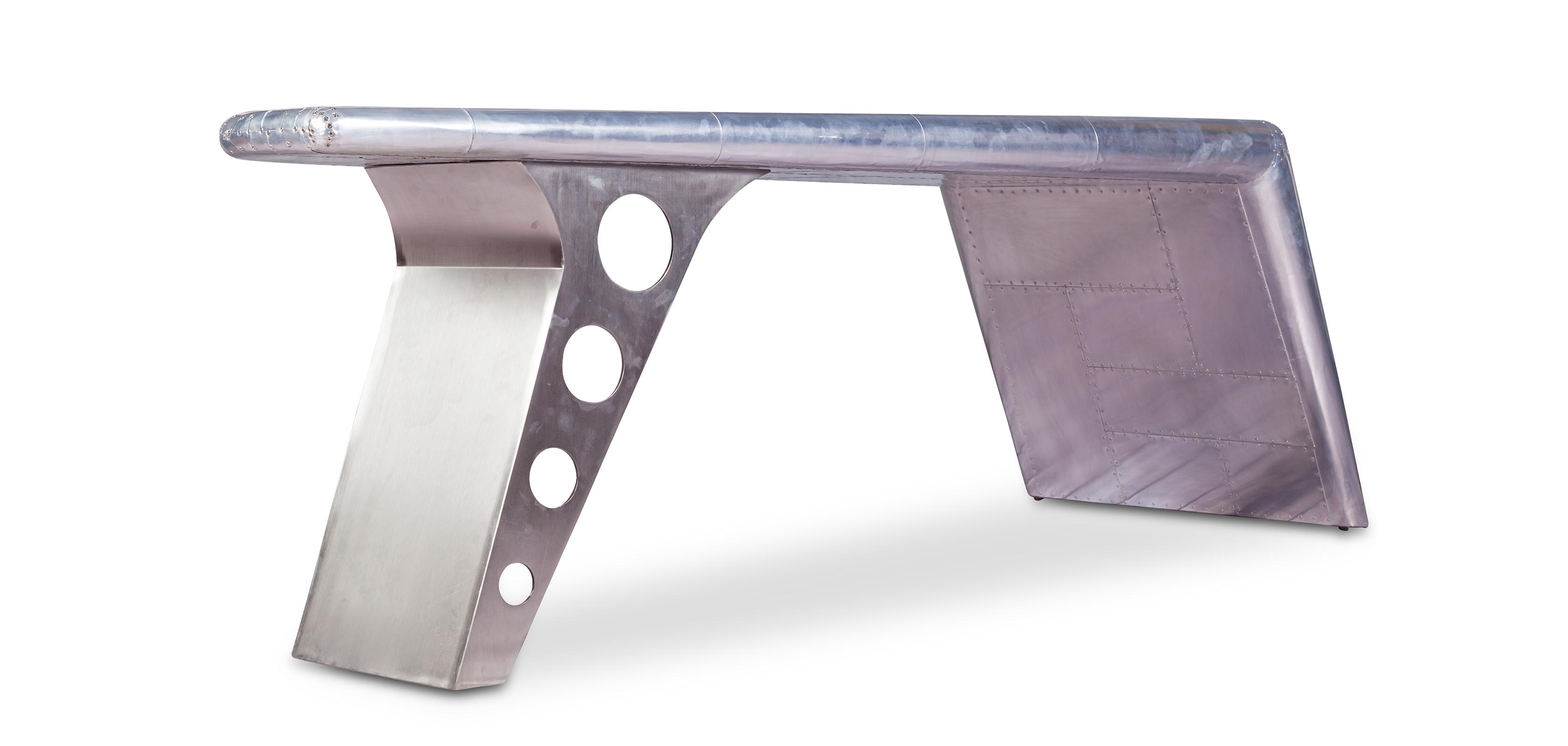 bureau en t le aviator aluminium. Black Bedroom Furniture Sets. Home Design Ideas