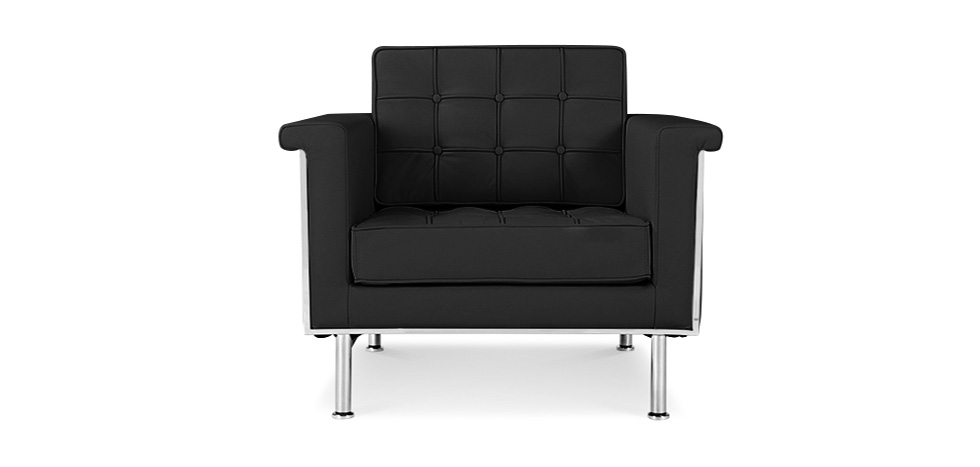 fauteuil inspiration ludwig mies van der rohe simili cuir. Black Bedroom Furniture Sets. Home Design Ideas