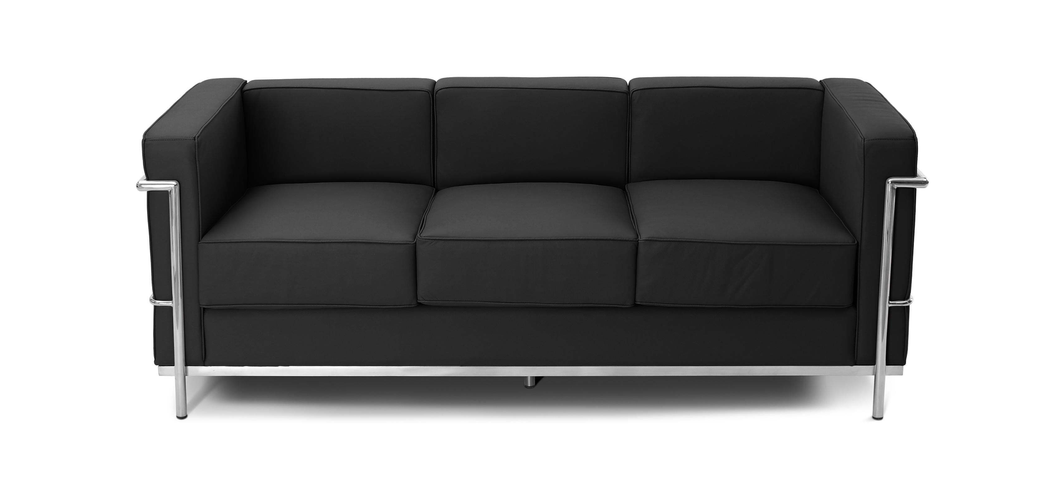 Canape Lc2 Charles Le Corbusier 3 Places Simili Cuir