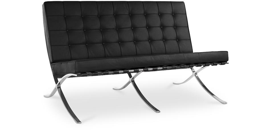 canap barcelona mies van der rohe 2 places simili cuir. Black Bedroom Furniture Sets. Home Design Ideas