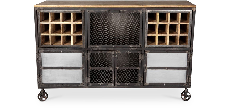 buffet vinoth que roulettes style industriel avara. Black Bedroom Furniture Sets. Home Design Ideas