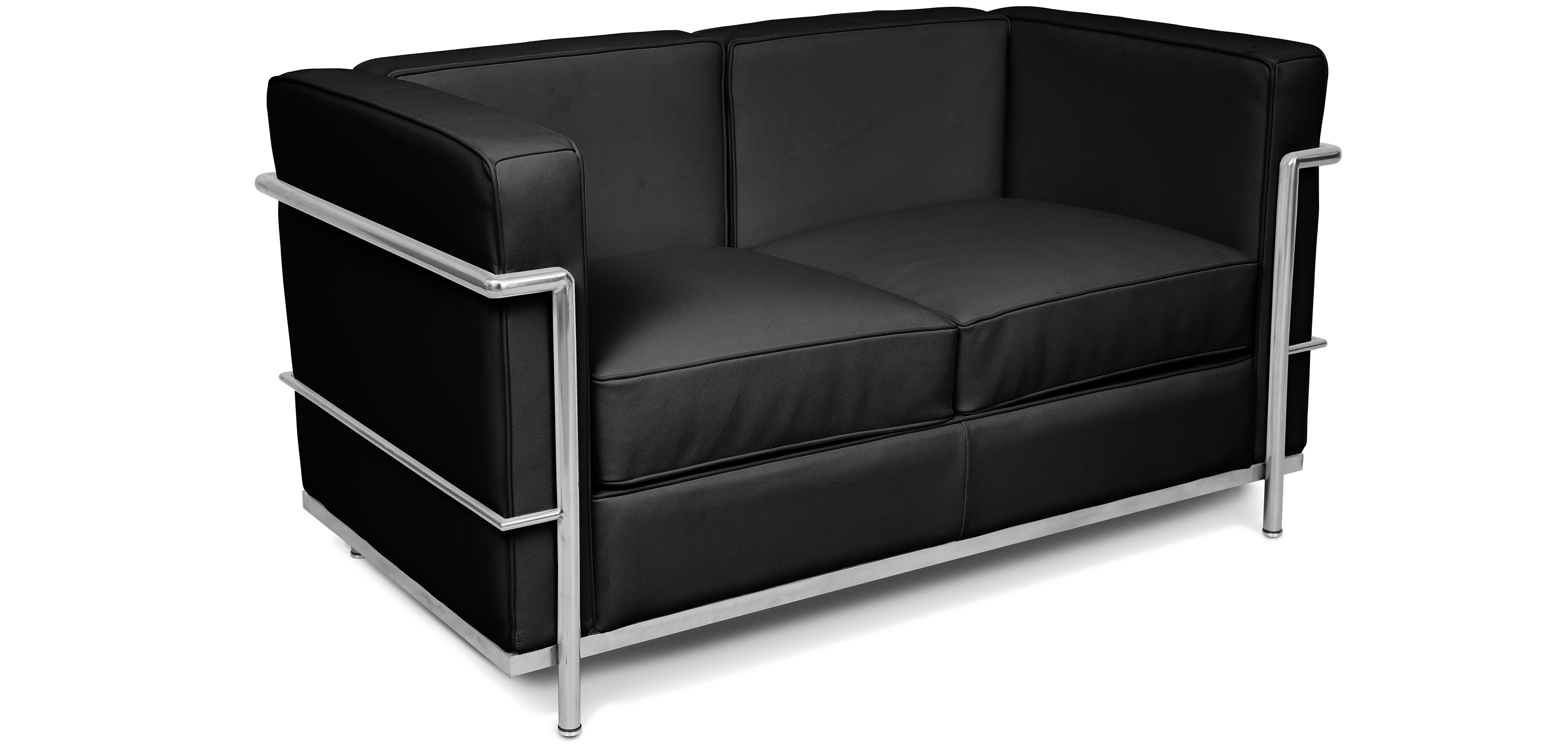 canap lc2 charles le corbusier simili cuir. Black Bedroom Furniture Sets. Home Design Ideas