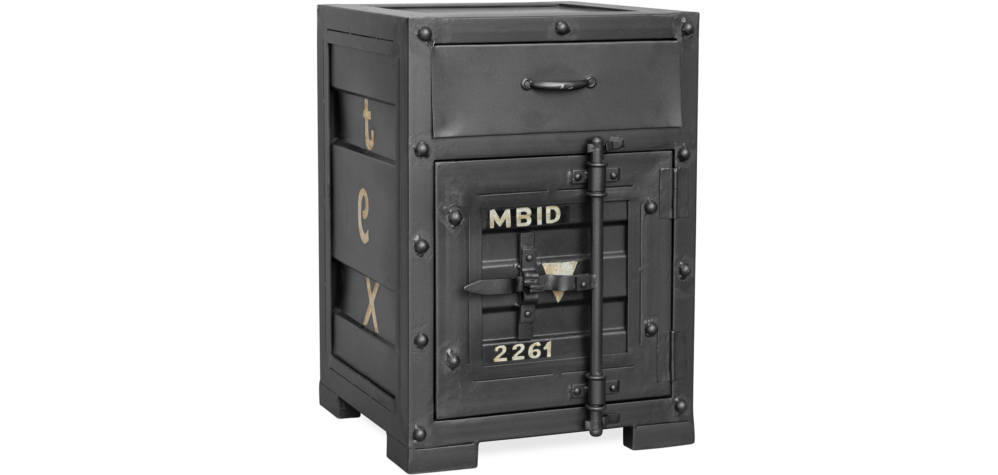 table de chevet container design vintage industriel. Black Bedroom Furniture Sets. Home Design Ideas