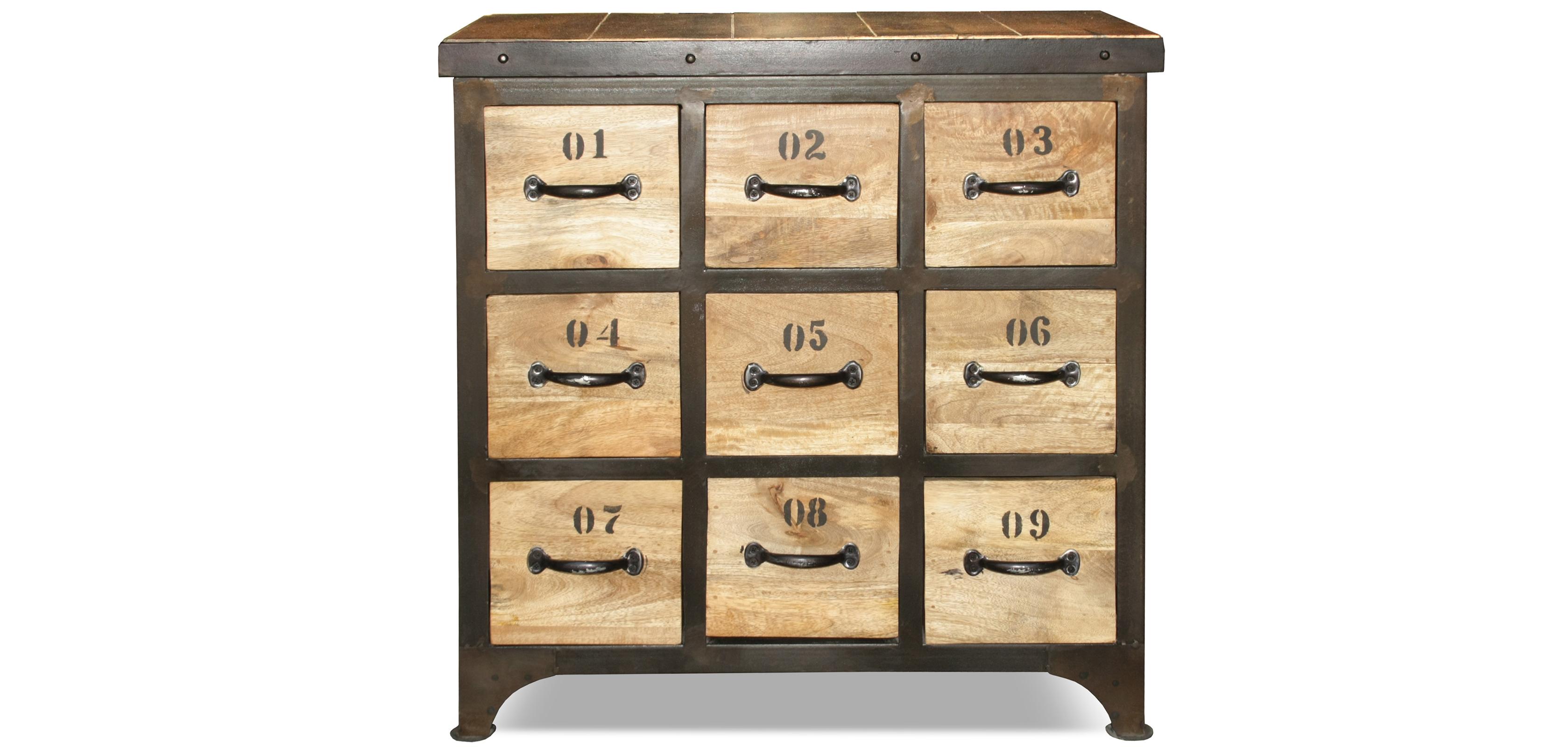 Commode Vintage industriel - Bois - 9 tiroirs