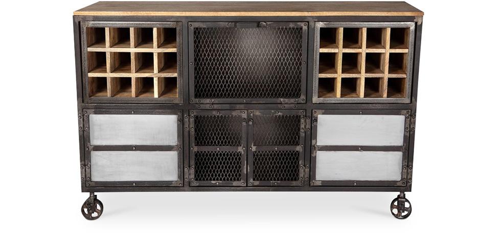 buffet vinoth que roulettes style industriel. Black Bedroom Furniture Sets. Home Design Ideas