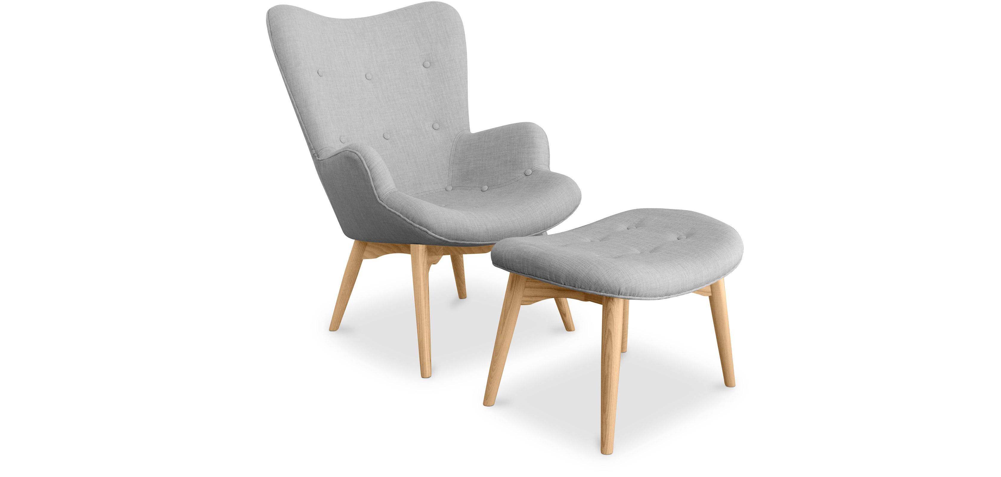 fauteuil avec repose pieds contour design scandinave grant featherston style - Fauteuil Scandinave Avec Repose Pied