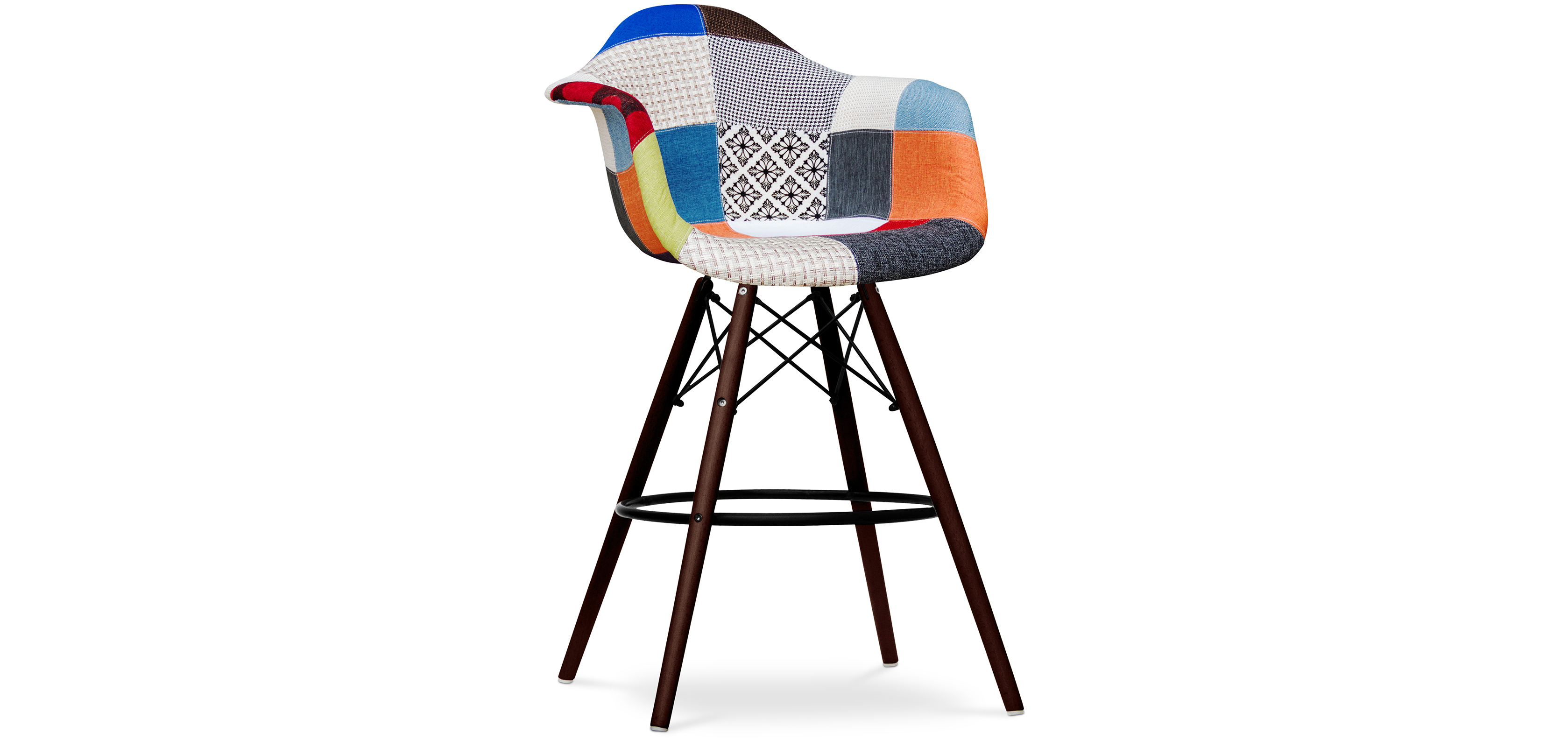 tabouret de bar daw pi tement fonc eames patchwork. Black Bedroom Furniture Sets. Home Design Ideas