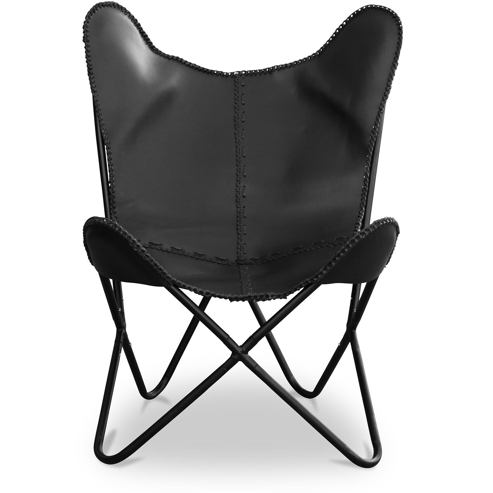Chaise papillon en cuir noir